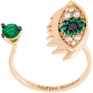 Delfina Delettrez 'Eyes on me piercing' diamond and emerald ring