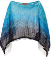 Missoni Fringed Metallic Crochet-knit Poncho - Blue