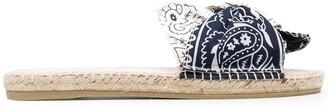 Manebi Bandana-Print Bow-Detail Sandals