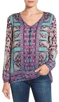 Lucky Brand Women's Moroccan Border Print V-Neck Blouse