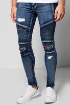 boohoo Skinny Ripped Biker Jeans