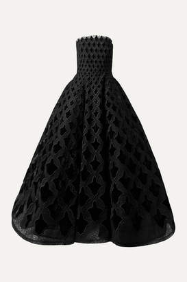 Oscar de la Renta Strapless Embroidered Tulle And Velvet Gown - Black