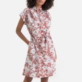 La Redoute Collections Cotton Floral Print Tie-Waist Shirt Dress