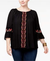 INC International Concepts I.n.c. Plus Size Embroidered Peasant Top, Created for Macy's