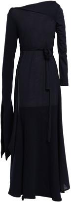 Victoria Beckham Draped Fluted Wool-jersey Maxi Dress