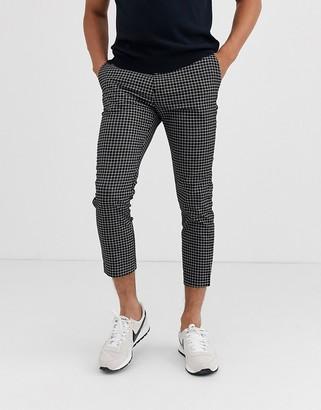 New Look skinny smart trousers in black mini grid check