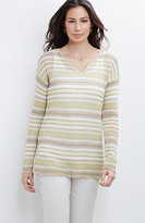 J. Jill Linen-Blend Textured-Stripes Pullover