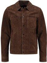 New Look New Look Stanley Leather Jacket Dark Brown