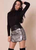 Missy Empire Mya Silver Metallic Mini Skirt