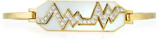 "David Webb ""Motif"" 18k Gold Diamond Skip Zigzag Bracelet with White Enamel & Platinum"