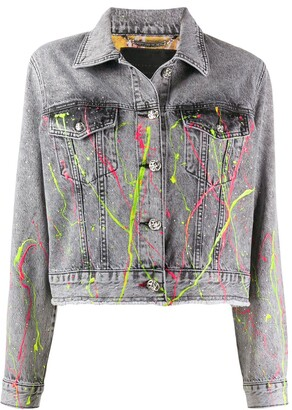 Philipp Plein Paint Splatter Denim Jacket
