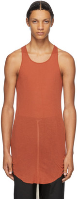 Rick Owens Orange Raw Edge Tank Top