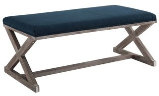 The Gray Barn Wild Hen Vintage French X-brace Upholstered Fabric Bench