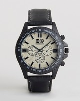 Crosshatch Black Watch With Imitation Inner Dials And White Dial