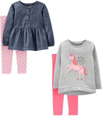 Simple Joys by Carter's Girls' Toddler 4-Piece Long-Sleeve Shirts and Pants Playwear Set