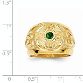 jewelryPot 14k Yellow Gold Mens Celtic Cross Synthetic Stone Center Ring