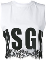 MSGM lace trim crop top - women - Cotton - M