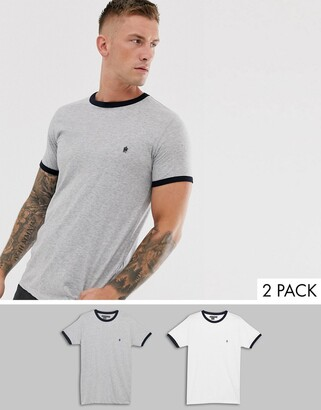 French Connection 2 pack ringer t-shirts-Grey