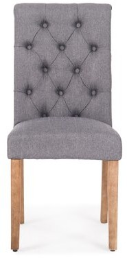 Ophelia Odelina Tufted Linen Upholstered Side Dining chair & Co. Color: Dark Gray