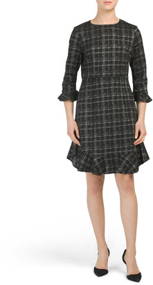 Plaid Knit Flounce Dress