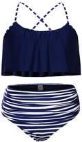 Darkey Wang Womens Ruffles Strap High-waisted Bikinis Bottom and Cute Flounced Top Swimsuits(-M(US(8-10))