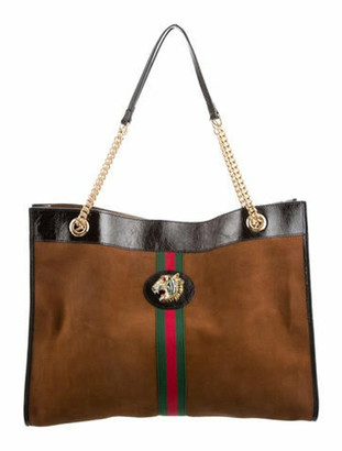 Gucci Large Suede Rajah Tote Brown
