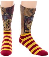 Bioworld Harry Potter House of Gryffindor Men's Crew Socks Burgundy N' Yellow Wizard