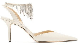 Jimmy Choo Birtie 85 Crystal-embellished Leather Sandals - Cream