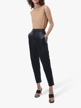 French Connection Alaricia Leather Crop Trousers, Black