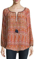 Calypso St. Barth Kamaria Long-Sleeve Paisley-Print Top, Orange Pattern