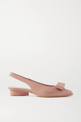 Salvatore Ferragamo Viva Bow-embellished Leather Slingback Pumps - Blush