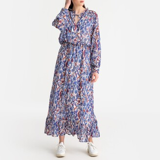 Suncoo Floral Print Boho Maxi Dress with Tie-Neck
