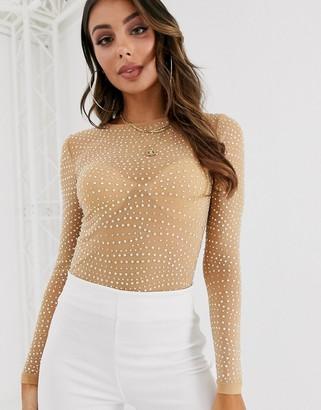 Asos Design DESIGN embellished long sleeve mesh body with crystal studs-Beige