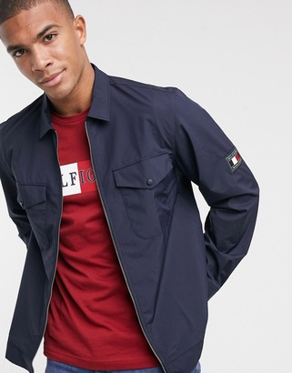 Tommy Hilfiger peached nylon zip front overshirt in navy