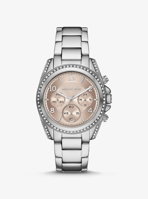 Michael Kors Oversized Blair Pave Silver-Tone Watch