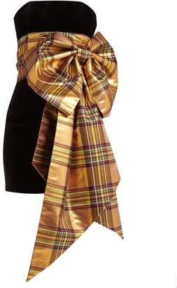 Alexandre Vauthier Tartan Bow Trim Velvet Dress - Womens - Gold Multi