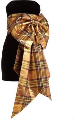 Alexandre Vauthier Tartan-bow Trim Velvet Dress - Womens - Gold Multi