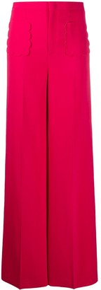 RED Valentino High-Waisted Scalloped Pocket Trousers
