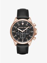 Michael Kors Gage Rose-Gold Tone and Leather Watch