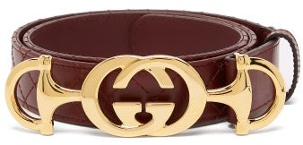 Gucci Horsebit-buckle Quilted Leather Belt - Brown