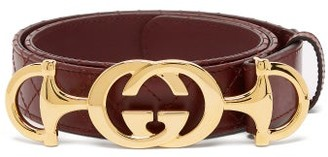 Gucci Horsebit-buckle Quilted-leather Belt - Womens - Brown