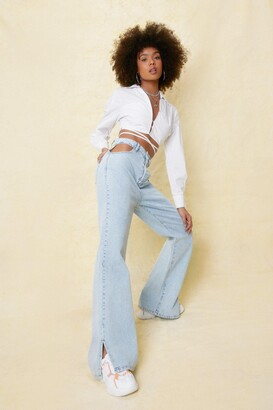 Nasty Gal Womens Don't Slit on the Fence Wide-Leg Jeans - Blue - 12