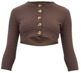Lisa Marie Fernandez Cropped Honeycomb-weave Cover-up Cardigan - Womens - Brown