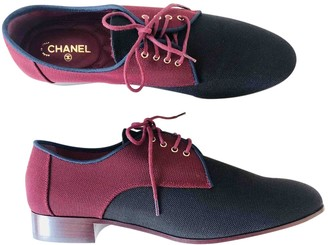 Chanel Burgundy Cloth Lace ups