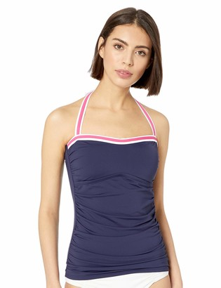 Nautica Women's Shirred Front Bandeau Halter Tankini Top Swimsuit