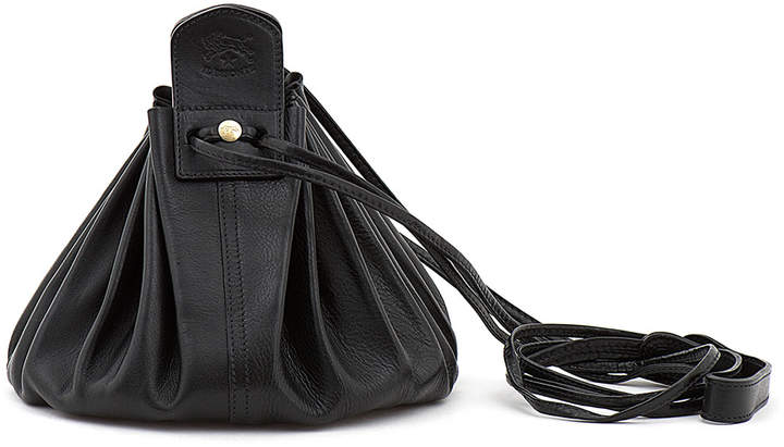 Il Bisonte Drawstring Leather Crossbody Pouch Bag, Black