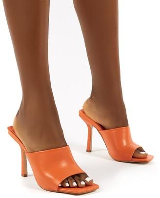 Public Desire Uk Zavia Square Toe Mules Sandal Heels