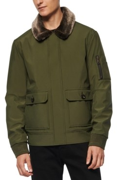 Andrew Marc Men's Kingshill Aviator Bomber with Faux Fur Collar