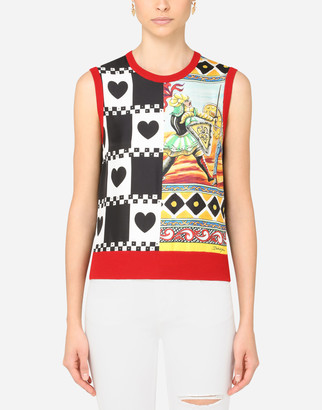 Dolce & Gabbana Cashmere And Silk Sweater With Patchwork Print
