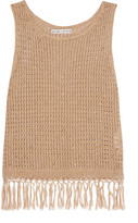 Alice + Olivia Tressa fringed embellished cotton-blend tank